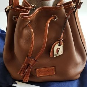 Dooney Bourke Tan Leather Drawstring Bag